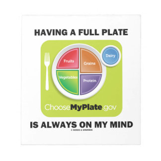 Have A Full Plate Is Always On My Mind Food Groups Memo Notepad