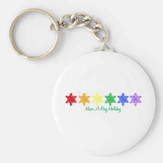 Have A Gay Holiday (Rainbow Snowflakes) Key Chains