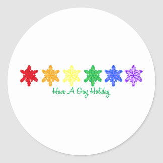 Have A Gay Holiday (Rainbow Snowflakes) Stickers