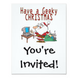 have a geeky christmas santa computer tech 4.25x5.5 paper invitation card