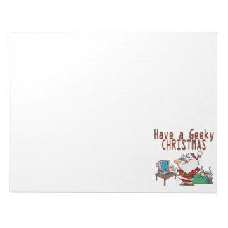 have a geeky christmas santa computer tech note pad