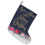 Have a Glam Merry Christmas Quote Purse Shoes Tree Large Christmas Stocking