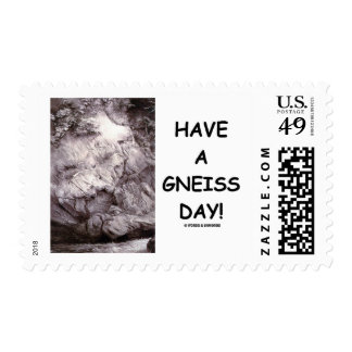 Have A Gneiss Day!  Geology Gneiss Rock Postage Stamp
