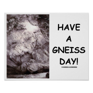 Have A Gneiss Day!  Geology Gneiss Rock Poster