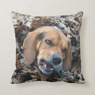 Have a Good Chew Beagle in Pile of Leaves Throw Pillow