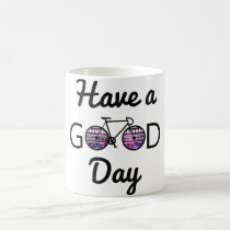 good, day, cycling, funny, tribal, earth day, cool, hipster, happy, bike, hobbies, environment, recycling, have a good day, eco friendly, ride, fun, recycle, green, mug, Caneca com design gráfico personalizado