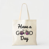 good, day, cycling, funny, tribal, earth day, cool, hipster, happy, bike, hobbies, environment, recycling, have a good day, eco friendly, ride, fun, recycle, green, tote, bag, Bag with custom graphic design