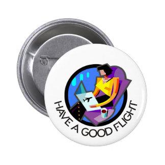 Have a good flight, bon voyage! Flying passenger Pinback Button