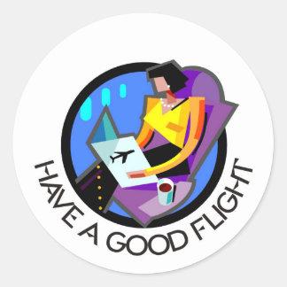Have a good flight, bon voyage! Flying passenger Round Stickers