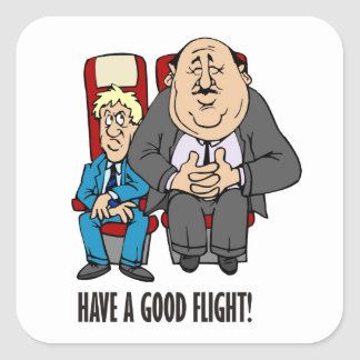 Have a good flight, squashed passenger! Bon Voyage Square Sticker