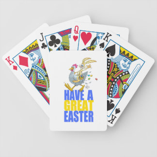 Have a great Easter,Bunny riding a chicken. Bicycle Playing Cards