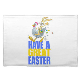 Have a great Easter,Bunny riding a chicken. Cloth Placemat