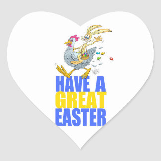 Have a great Easter,Bunny riding a chicken. Heart Sticker