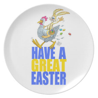 Have a great Easter,Bunny riding a chicken. Melamine Plate