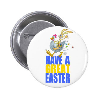 Have a great Easter,Bunny riding a chicken. Pinback Button