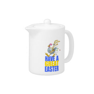 Have a great Easter,Bunny riding a chicken. Teapot