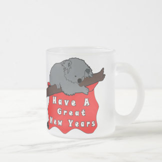 Have A Great New Years Koala Frosted Glass Coffee Mug
