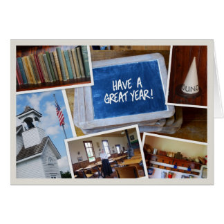 """""""Have a Great Year"""" Vintage School House Scenes Card"""