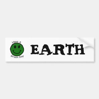 Have A Green Day Retro Smiley Face Car Bumper Sticker