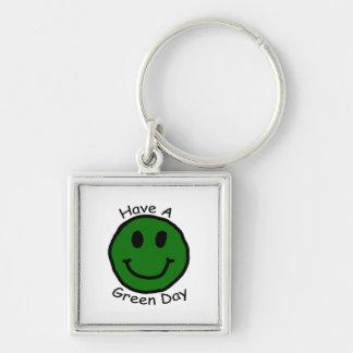 Have A Green Day Retro Smiley Face Keychain