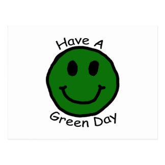 Have A Green Day Retro Smiley Face Postcard