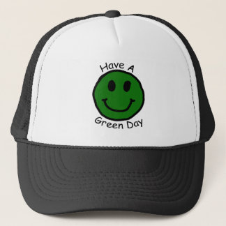 Have A Green Day Retro Smiley Face Trucker Hat