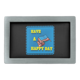 Have A Happy Day Rectangular Belt Buckle