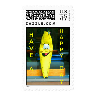 HAVE A HAPPY DAY HAPPY BANANA POSTAGE STAMP