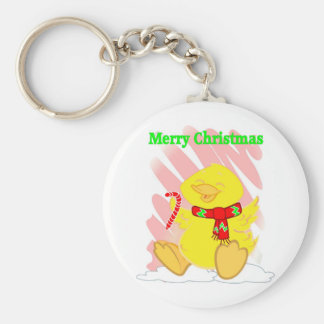 Have a Happy Duck Merry Christmas Basic Round Button Keychain