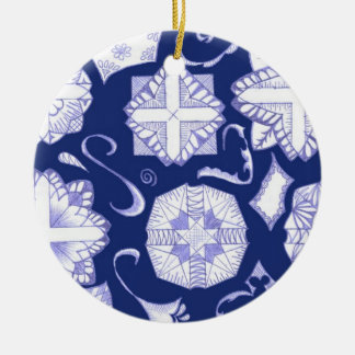 Have a Happy Hanukkah! Double-Sided Ceramic Round Christmas Ornament