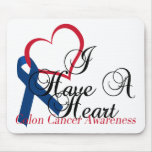 Have A Heart Colon Cancer Awareness Navy Riboon Mouse Pad
