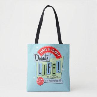 Have A Heart Donate Life, Polka Dot Tote Bag