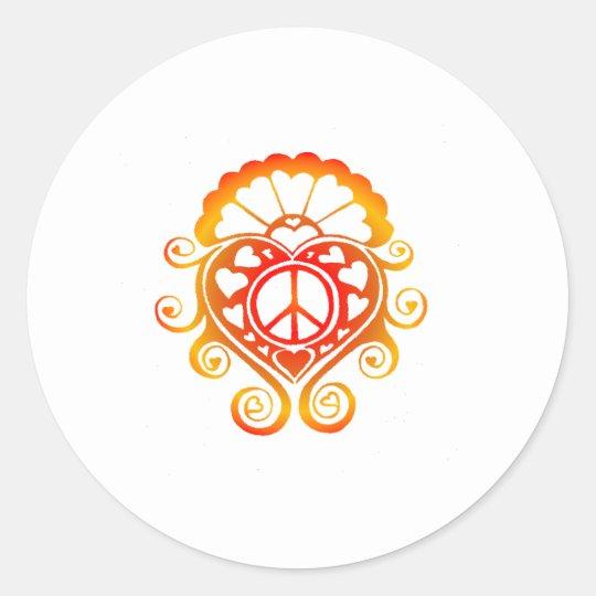 have a heart /henna sunburst classic round sticker
