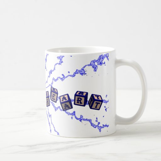 Have a heart toy blocks in blue coffee mugs