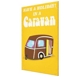 Have a Holiday in a Caravan vintage cartoon poster Canvas Print