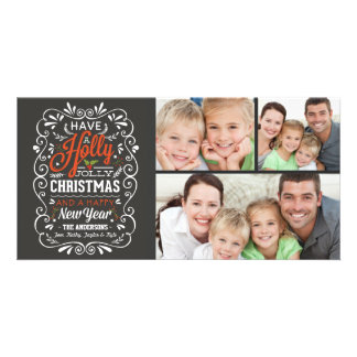 Have A Holly Jolly Christmas Chalkboard 3-Photo Card