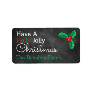 Have A Holly Jolly Christmas Chalkboard Gift Tags Label