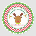 Have a Holly Jolly Christmas Cute Reindeer Classic Round Sticker