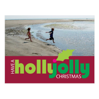 Have a Holly Jolly Christmas Photo Postcard on Red
