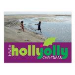 Have a Holly Jolly Christmas Photo Postcard Plum