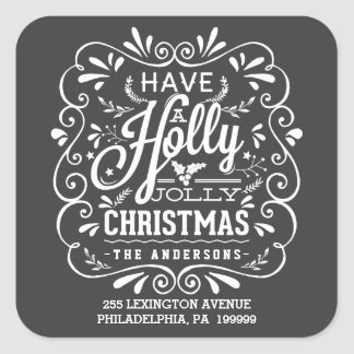 Have A Holly Jolly Christmas Return Address Square Sticker