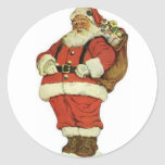 Have a Holly Jolly Christmas Santa Claus Round Stickers