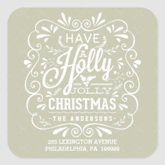 Have A Holly Jolly Christmas Tan Return Address Square Sticker