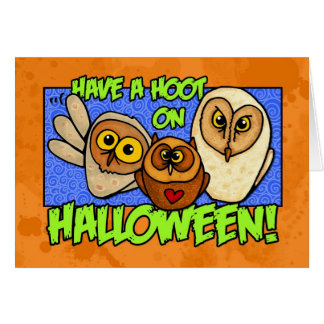 have a hoot on halloween card