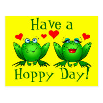 Have a Hoppy Day Cartoon Frogs Happy Yellow Postcard