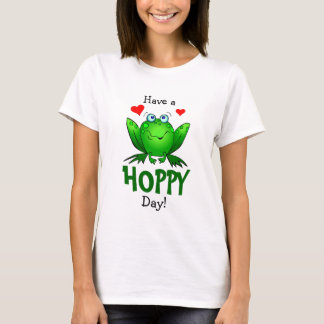 Have a Hoppy Day Cute Green Frog Hearts T-Shirt