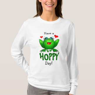Have a Hoppy Day Cute Green Lady Frog Shirt