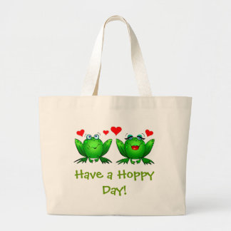 Have a Hoppy Day Happy Green Frogs Large Tote Bag