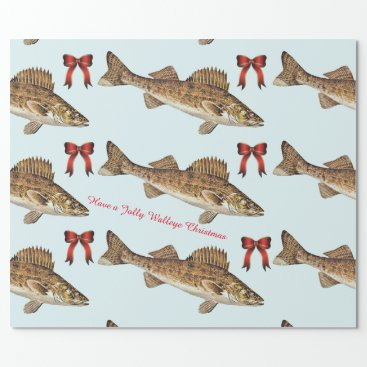 """Christmas Themed """"Have a Jolly Walleye Christmas"""" Wrapping Paper"""