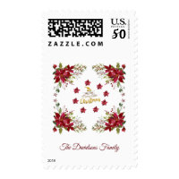 Have a Merry Little Christmas Poinsettia Monogram Postage